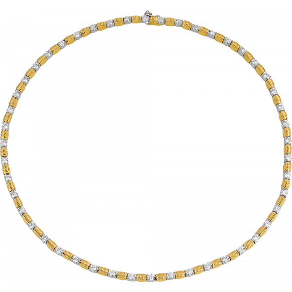 18kt Yellow Gold and Platinum Bars D'Or Diamond Necklace