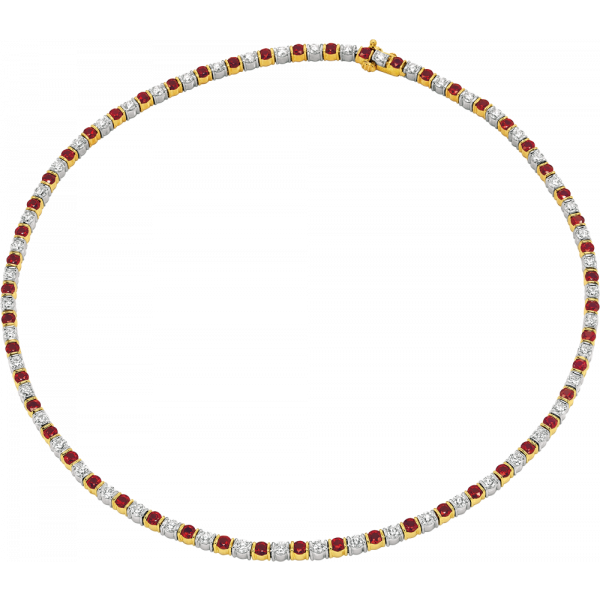 18kt Yellow Gold and Platinum Gemlok Diamond and Ruby Riviere Necklace