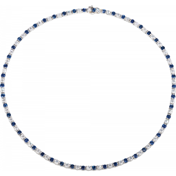 Platinum Gemlok Diamond and Sapphire Riviere Necklace