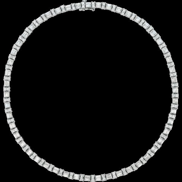 Platinum Gemlok 2 Row Baguette and Round Diamond Necklace