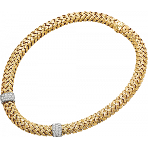 18kt Yellow Gold and Platinum Vannerie Diamond Accent Necklace