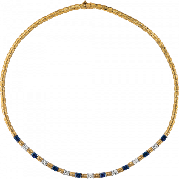 18kt Yellow Gold and Platinum Bars D'Or Radiant Diamond and Radiant Sapphire Necklace
