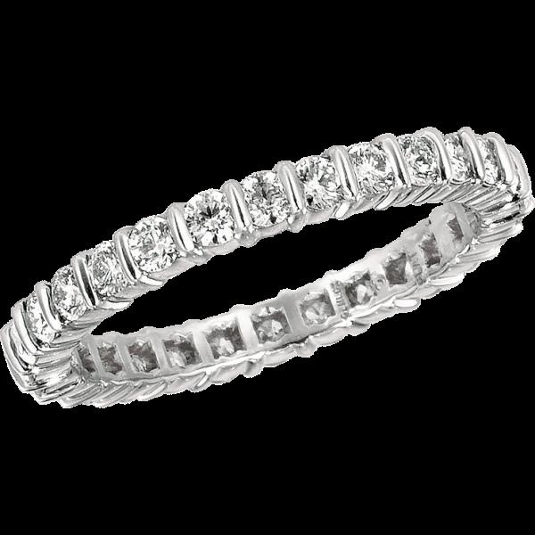 Platinum Gemlok Round Diamond Eternity Ring