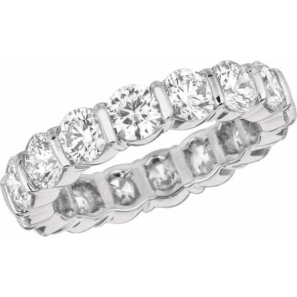 Platinum Gemlok Round Diamond Eternity Ring