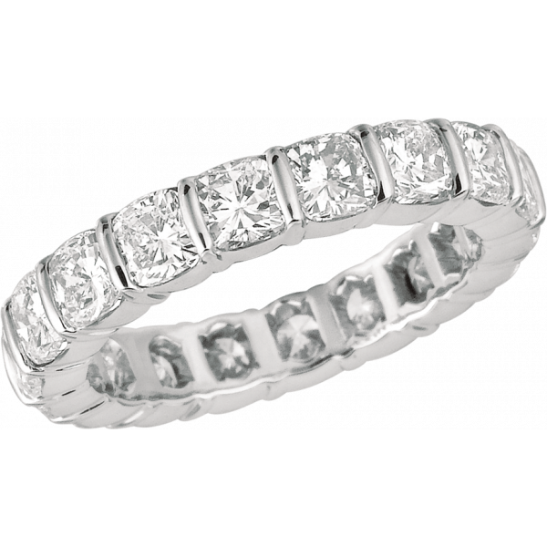 Platinum Gemlok Cushion Cut Diamond Eternity Ring