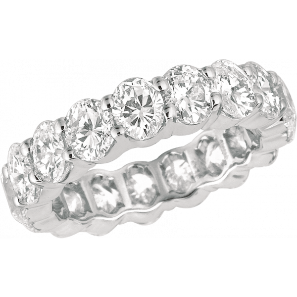 Platinum Shared Prong Oval Diamond Eternity Ring