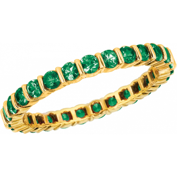 18kt Yellow Gemlok Tsavorite Eternity Ring