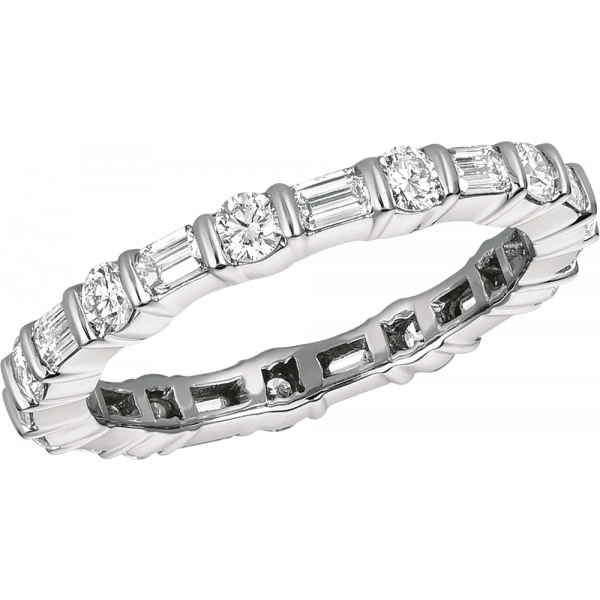 Platinum Gemlok Eternity Diamond Baguette and Round Ring