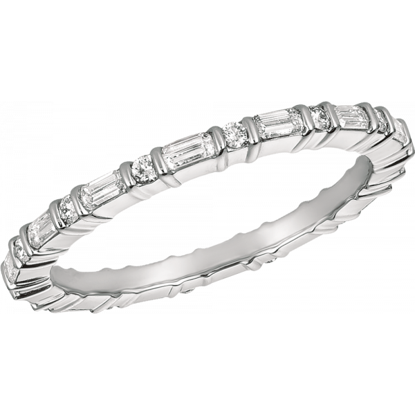 Platinum Minilok Baguette and Round Eternity Ring