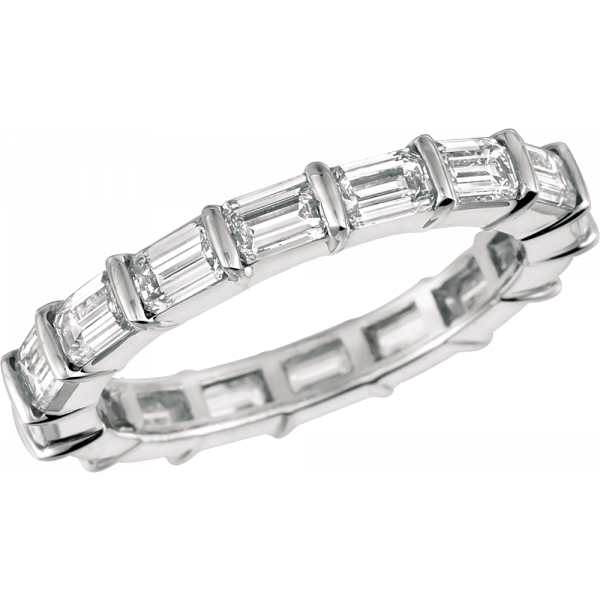 Platinum Gemlok Baguette Diamond Eternity Band