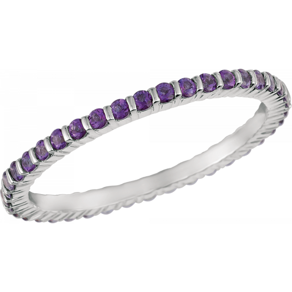 18kt White Gold Minilok Violet Topaz  Eternity Ring