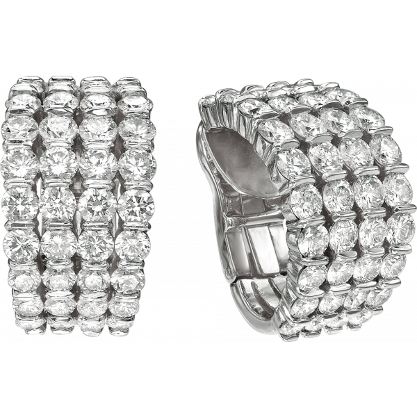 Platinum Gemlok 4 Row Diamond Earrings