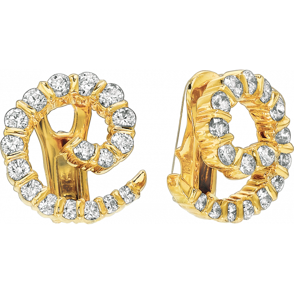 18kt Yellow Gold Gemlok Diamond Swirl Earring