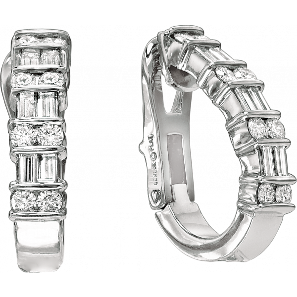 Platinum Gemlok 2 Row Baguette and Round Diamond Earrings