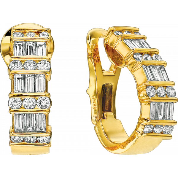 18kt Yellow Gold Gemlok 3 Row Baguette and Round Diamond Earring