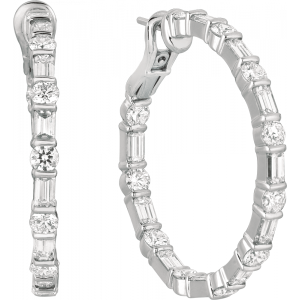 18kt White Gold Gemlok Diamond Baguette and Round Large Hoop