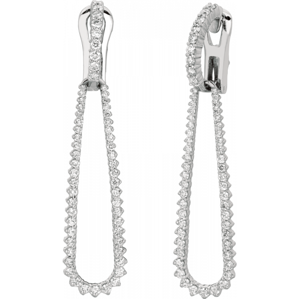 18kt White Gold Prong Set Diamond Drop Detachable Earrings