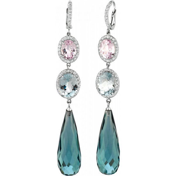18kt White Gold Kunzite and Aquamarine Drop Earrings with Blue Zircon Briolet Drops