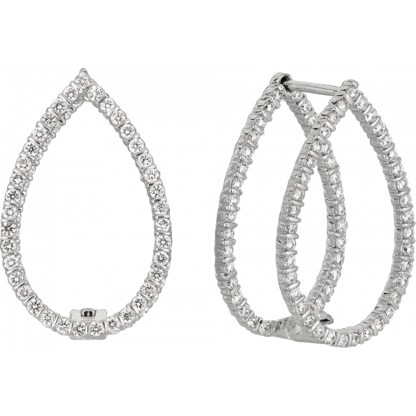 18kt White Gold Minilok Miroir Diamond Pear Shape Earrings