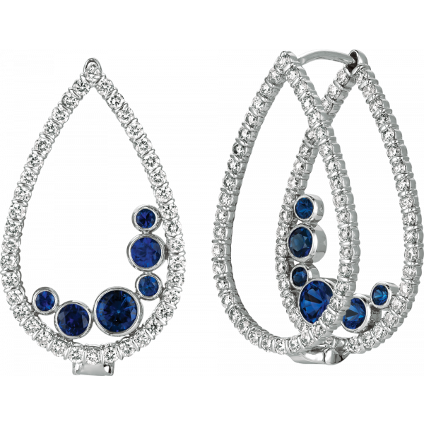 18kt White Gold Minilok Miroir Pear Shape Earrings with Sapphire