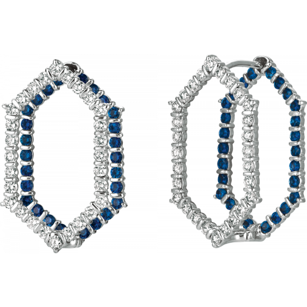18kt White Gold Minilok Miroir Diamond and Sapphire Hexagonal Earrings