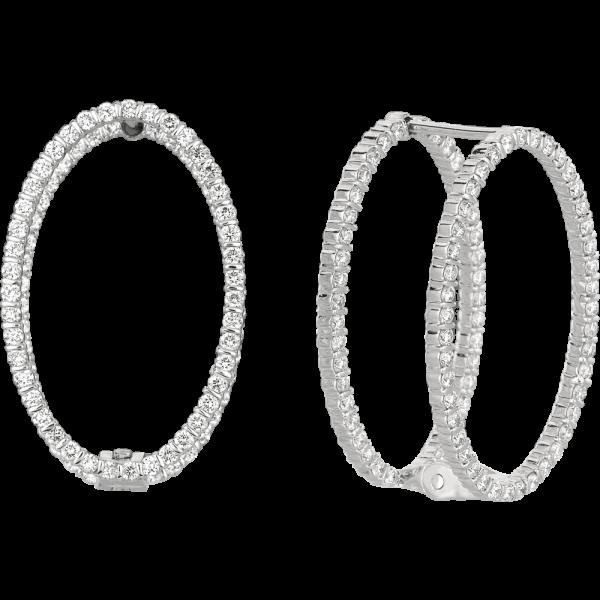 18kt White Gold Minilok Miroir Diamond Oval Earrings