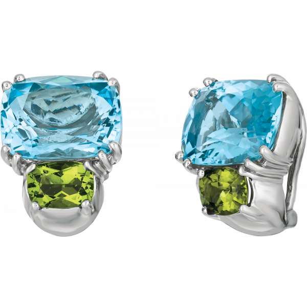 18kt White Gold Bold Earrings in blue Topaz and Peridot