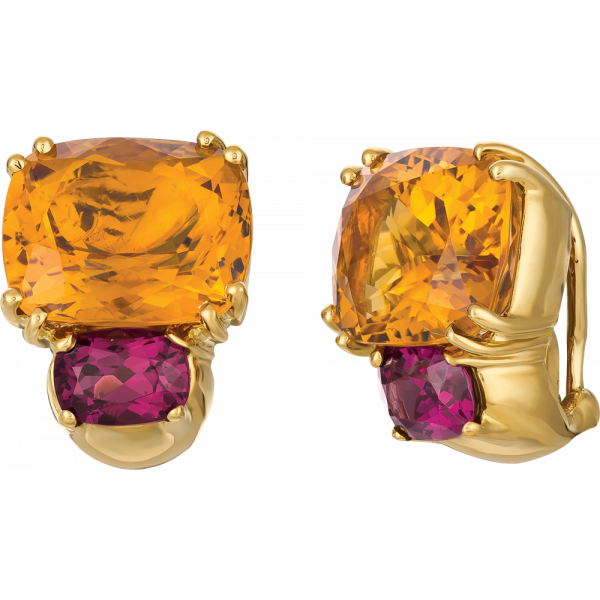 18kt Yellow Gold Bold Earrings in Citrine and Garnet