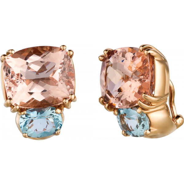 18kt Rose Gold Bold Earrings in Morganite and Aquamarine