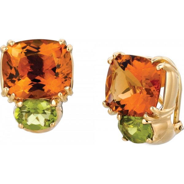 18kt Yellow Gold Bold Earrings in Citrine and Peridot
