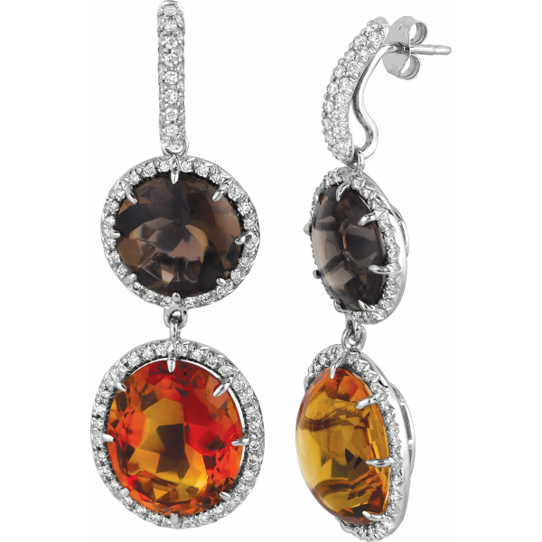 18kt White Gold Pave Diamond Drop Earring with Detachable Smoky Topaz and Citrine Drop