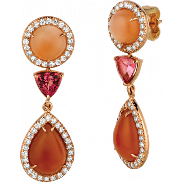 18kt Rose Gold Orange Moonstone detachable Drop Earring