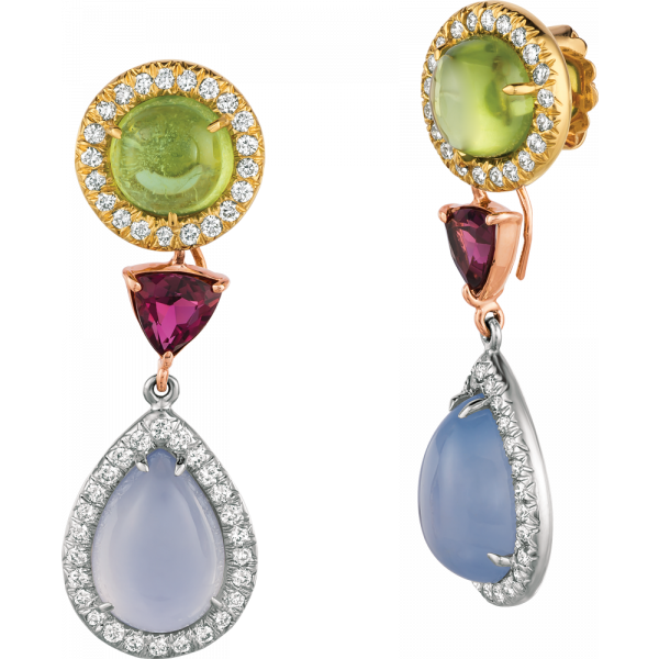 18kt Yellow and White Gold Peridot and Chalcedony Detachable Drop Earring
