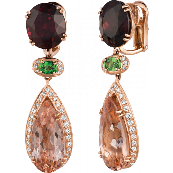 18kt Yellow Gold Rhodolite Garnet and Morganite Drop Earring