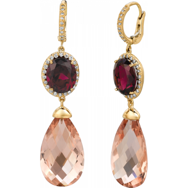 18kt Yellow Gold Rhodolite Garnet in Diamond Pave Accent with Morganite Briolet
