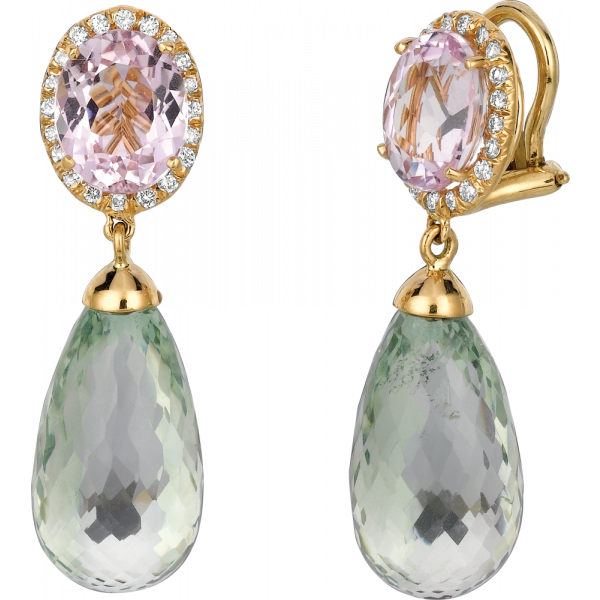 18kt Yellow Gold Kunzite in Diamond Pave Accent with Green Amythyst Briolet