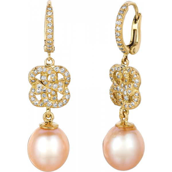 18kt Yellow Gold Diamond Pave Signature Earring with Pearl Drop