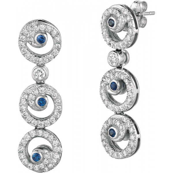 18kt Whtie Gold Diaomnd Pave with Sapphire accent Petite Melodie Earring