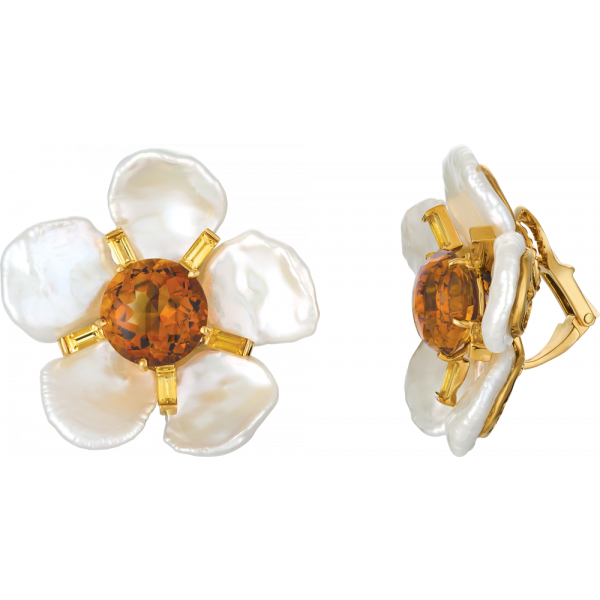18kt Yellow Gold Keshi Pearl Flower Earring with Citrine center