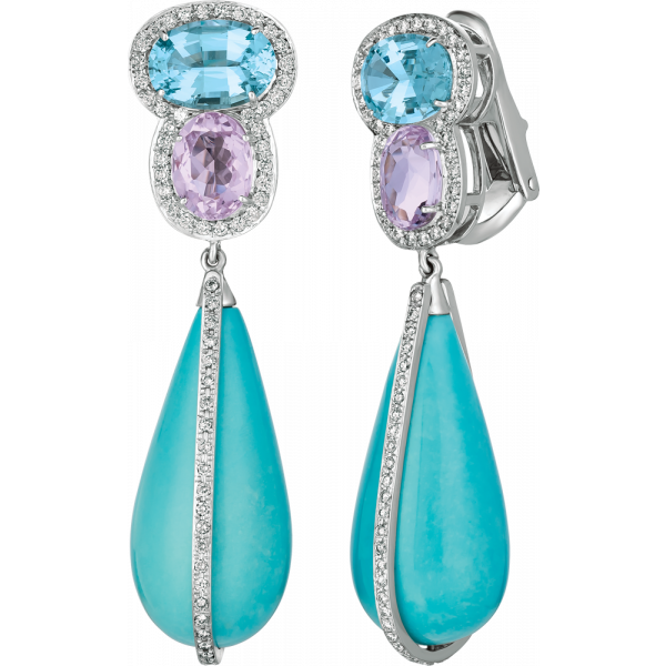 18kt White Gold Kunzite and Aquamarine Earring with Turquoise Drops