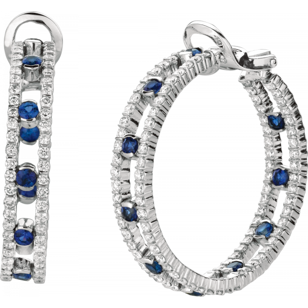 18kt White Gold Minilok 2 Row Dot Diamond and Sapphire Hoops