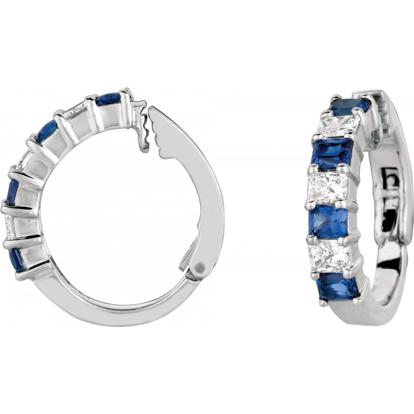 Platinum Prong Set Radiant Diamond and Radiant Sapphire Small Earring