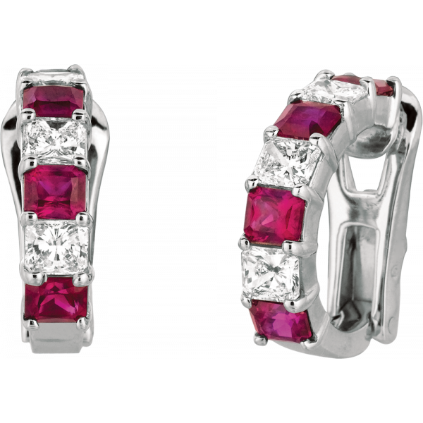 Platinum Prong Set Radiant Diamond and Radiant Ruby Earring