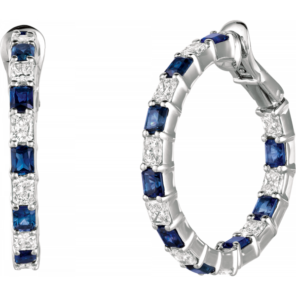 Platinum Radiant Diamond and Radiant Sapphire Hoop