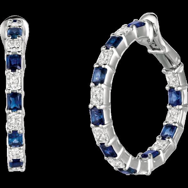 Platinum Radiant Diamond and Radiant Sapphire Hoop