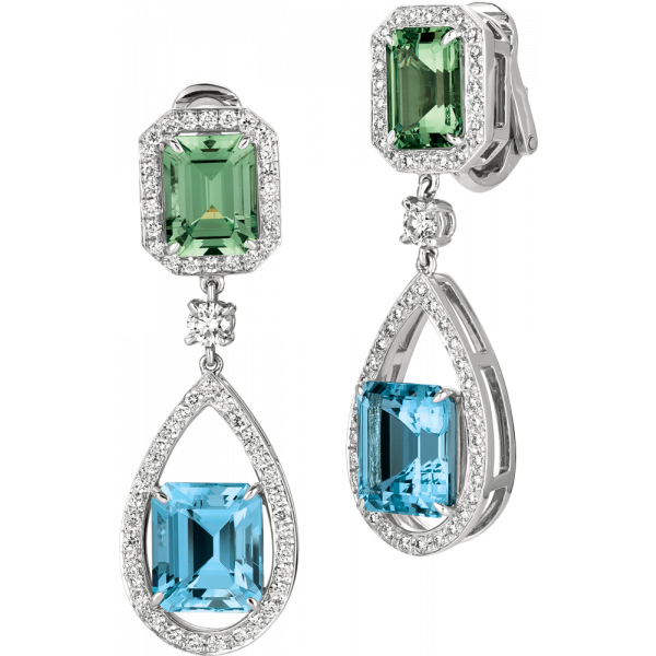 Platinum Bijoux Earring with Aquamarine and Grossural Green Garnet