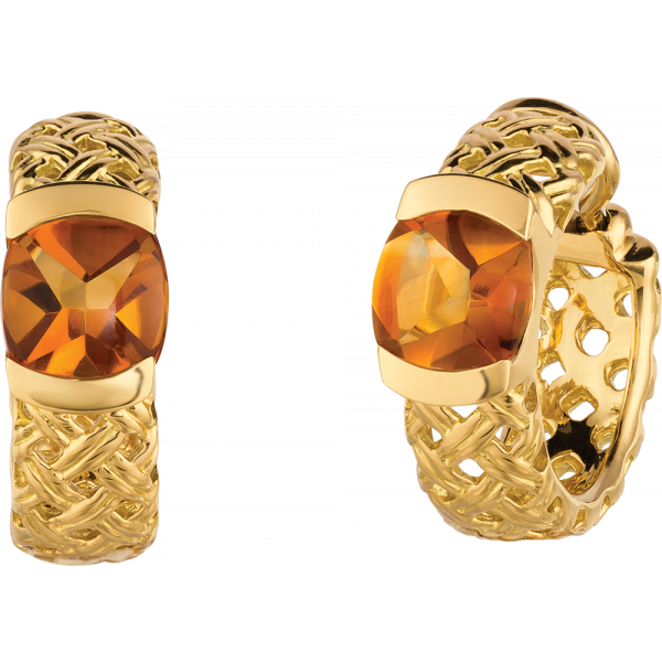 18kt Yellow Gold Vannerie Hoop with Citrine Cabachons