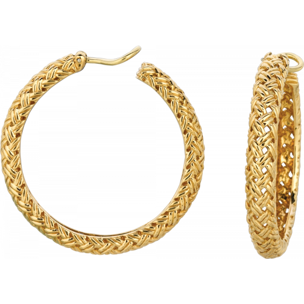 18kt Yellow Gold Vannerie Large Hoop Earring