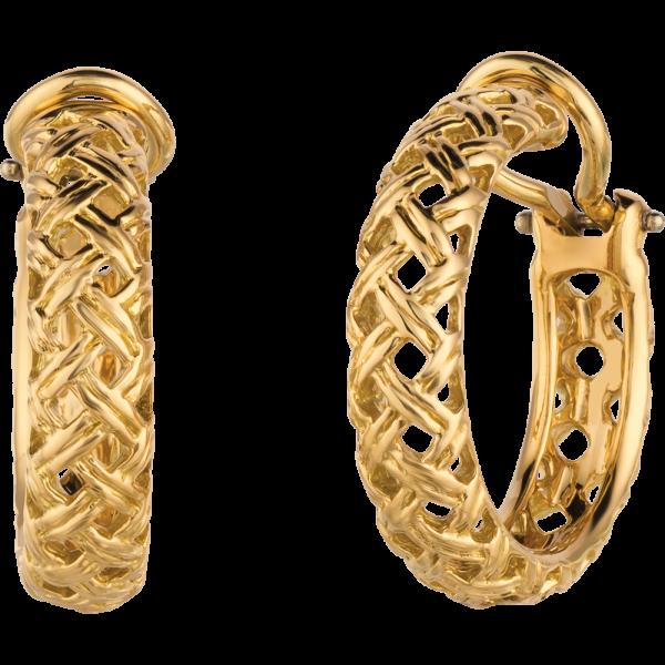18kt Yellow Gold Vannerie Hoop Earrings