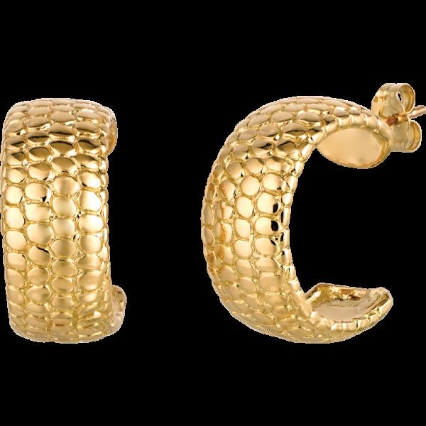 18kt Yellow Gold Snake Skin Hoop Earring